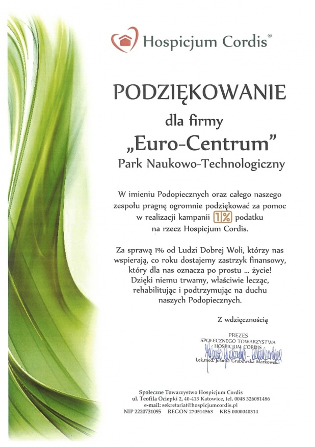 dyplom dla parku naukowo-technologicznego